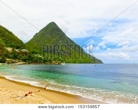 Beautiful white sand beach in Saint Lucia Caribbean Islands
