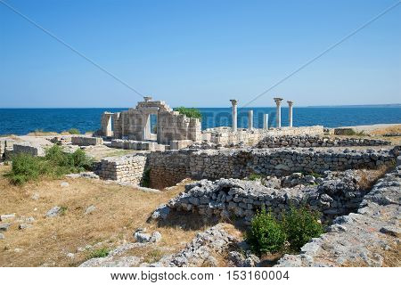 SEVASTOPOL, CRIMEA - JUNE 10, 2013: Ruins of an ancient Christian basilica in the sunny June afternoon. Historical landmark of the Chersonese
