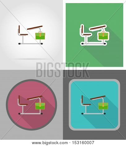 school desk flat icons vector illustration isolated on background