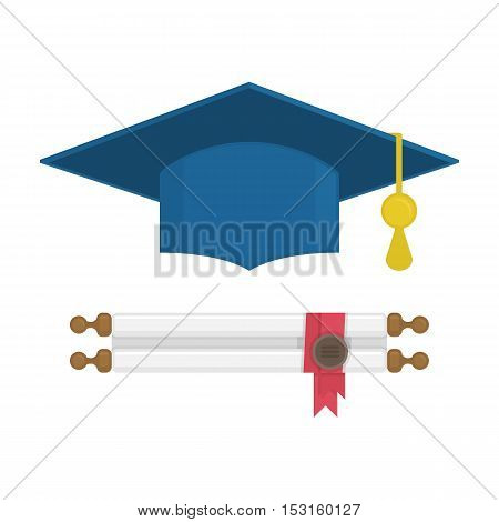 Graduation cap and diploma rolled scroll. Finish education symbol. Graduation, education concept.
