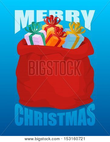 Merry Christmas Full Santa Claus Sack Of Gifts. Bag Of With Presents. Happy New Year Toys For Childr