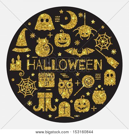 Halloween gold icons set in circle shape on black background. Golden design concept for festive banner, greeting and invitation card, flyer, tag, poster, postcard, advertisement. Vector illustration.