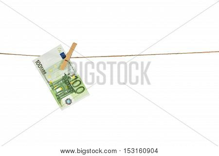 100 Euro Banknote Hanging On Clothesline On White Background.
