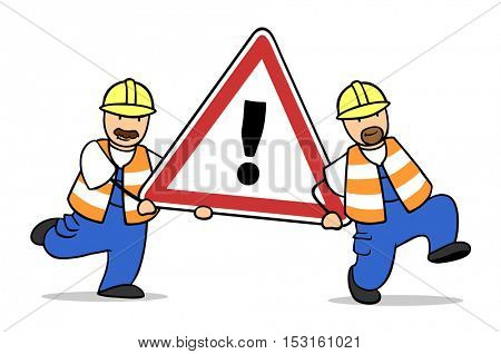 Two cartoon construction workers carry road sign as warning