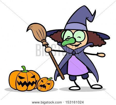 Cartoon girl dressed up as witch for Halloween