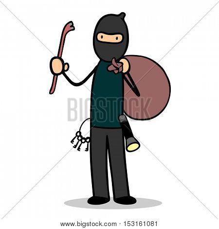 Cartoon housebreaker thief with mask