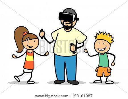 Cartoon virtual reality headset with two kids and man