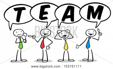 Cartoon people as team with speech bubbles discussing