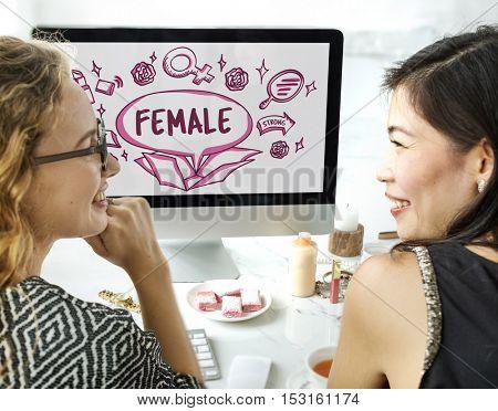 Feminine Icons Symbols Outside Box Sketch Concept