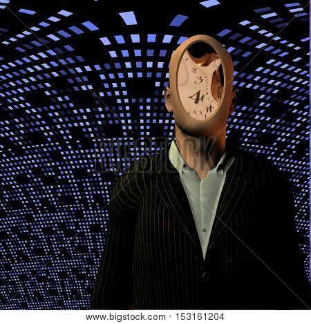 Man with clock face before blue grid  3D Render