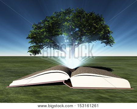 Tree growing out of book with illumination  3D Render