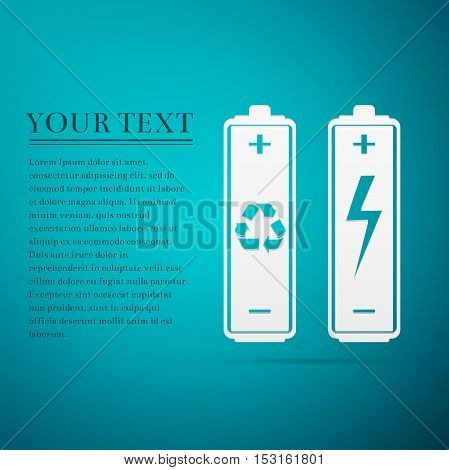 Battery with recycle symbol - renewable energy concept and renewable energy battery flat icon on blue background. Vector Illustration
