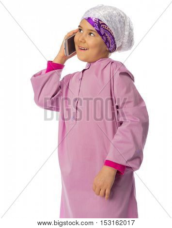Little muslim girl isolated on white