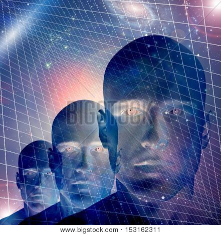 3 Male figures with space and grid Some elements provided courtesy of NASA  3D Render
