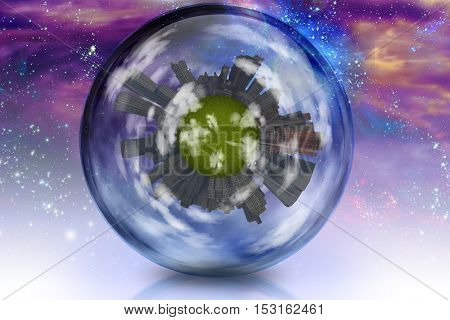 Large city  planet in glass enclosure. Surreal space and stars Some elements provided courtesy of NASA  3D Render