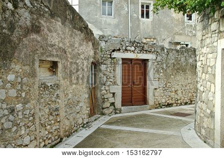 Senj Croatia: a small town in northern Croatia located on the Adriatic coast. Narrow street in the old town. Historic buildings of the old town.