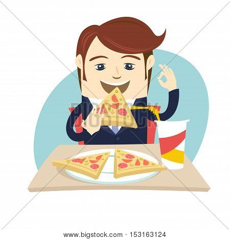 Funny Business Man Eating Pizza At Cafe Table. Flat Style