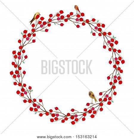 Wreath of flowers.Rowan and bird.Watercolor hand drawn illustration.White background.