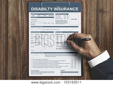 Disability Insurance Form Contract Concept