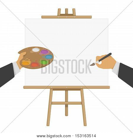 Hands holding paint and brush on the background of the easel. Wooden easel with a blank canvas. Vector illustration of painting desk and white paper. Concept artist, Illustrator or designer.