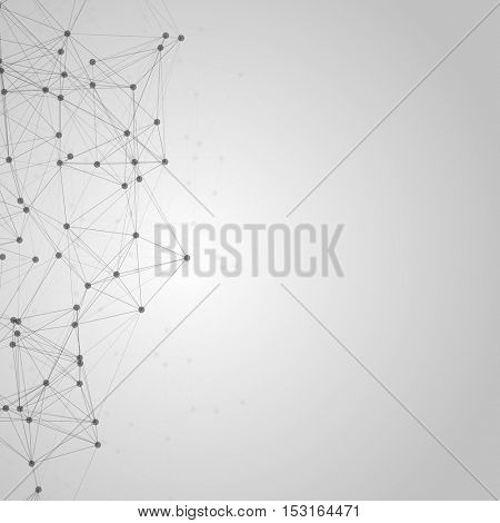 Black and White Abstract Polygonal Space | Grey Background with Black Connecting Dots and Lines | Futuristic Vector Illustration