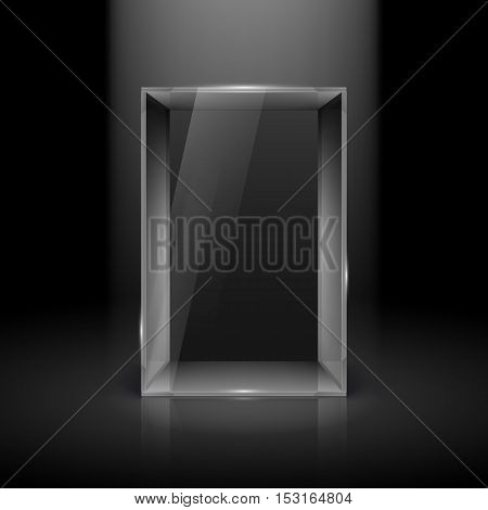 Empty Glass Showcase with Spot Light for Presentation
