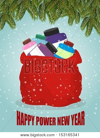 Protein In Red Sack Of Santa Claus. Happy Power New Year. Big Bag With Packages Of Sports Nutrition.