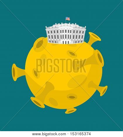 White House In Moon. Us President Residence In Space. American National Palace Flies. Government Bui