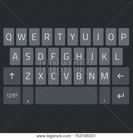 Black keyboard of smartphone, alphabet buttons. Mobile phone keypad vector mock-up. Key board for mobile device illustration.