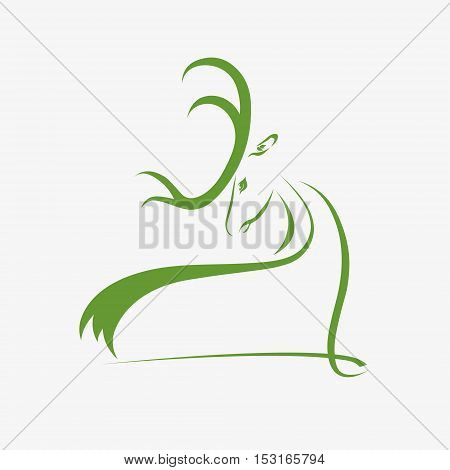 illustration of a deer head silhouette with place for text