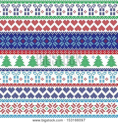 Scandinavian style and Nordic culture inspired winter textile style pattern including Christmas gifts, tree, snowflakes, snow, hearts and decorative ornaments,  in cross stitch in green, blue, red