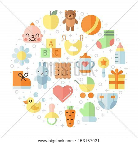 Baby (girl and boy) stuff flat multicolored cute vector circle illustration. Modern minimal design.