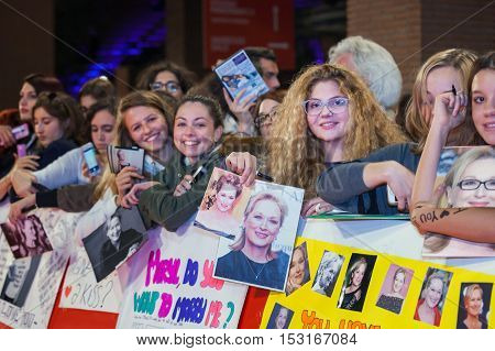 Rome Italy - October 20 2016. American actress Meryl Streep followers waiting impatiently step on the red carpet of their idol at the Rome Film Festival.