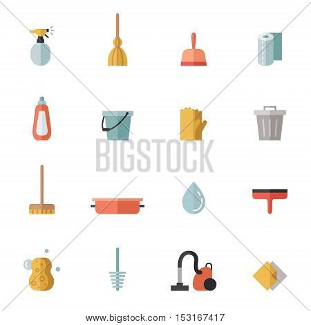 Cleaning flat multicolored vector icons set. Modern minimal design.