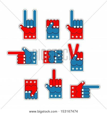 Foam Finger Usa Patriot. American Hand Symbol. Expression Of Emotions. Pattern Of Flag Of America