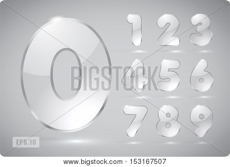 Set of transparent vector glass numbers, from 1 to 0. Zero 0 One 1 Two 2 Three 3 Four 4 Five 5 Six 6 Seven 7 eight 8 nine 9. Eps 10.