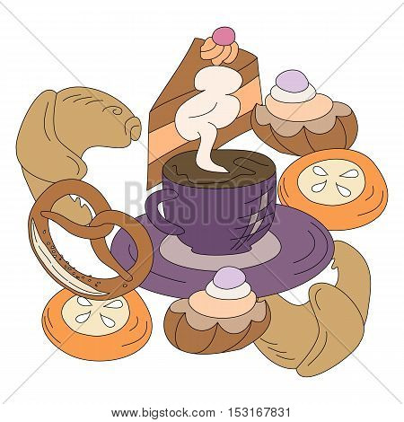 Set of cartoon vector food icons isolated on white background. Cakes, pretzel, cheesecake, cookies, croissant, eggs, cup of coffee of black tea.
