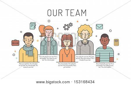 Multicolored vector work team illustration (women and men). Business design concept. Modern minimalistic design. Part two.