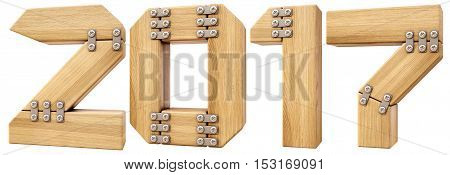 new 2017 year from wood. isolated on white. 3D illustration
