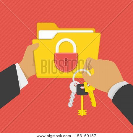 Flat illustration of security center. Yellow folder with lock and keys in the hands of man. Data protection, internet security flat illustration concepts.