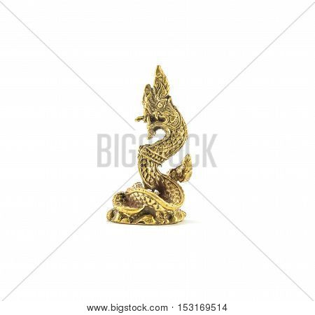 Closeup small brass king naga statue isolated on white background