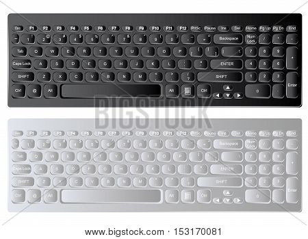 Modern realistic computer keyboard isolated on white. Vector illustration.