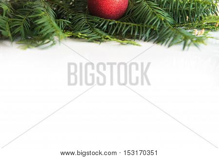 close up on Christmas decorations on white background