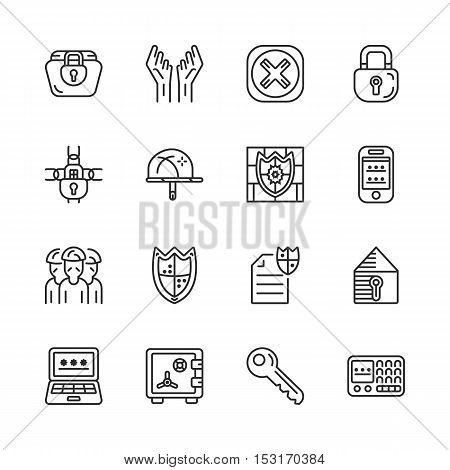 vector set of security and protection line icons eps 10