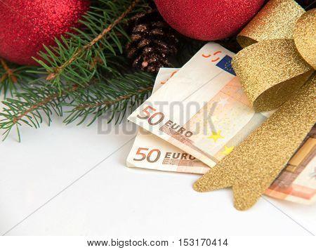 Christmas Gift Box With Euro Money On White Background
