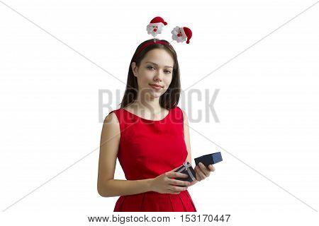 Christmas Gift.Holidays magic.Girl happy New Year gifts.