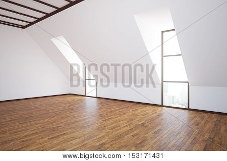 Side view of unfurnished loft interior with wooden floor concrete walls and windows with city view. 3D Rendering