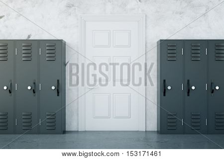 School corridor interior with grey lockers and white door on concrete wall background. 3D Rendering