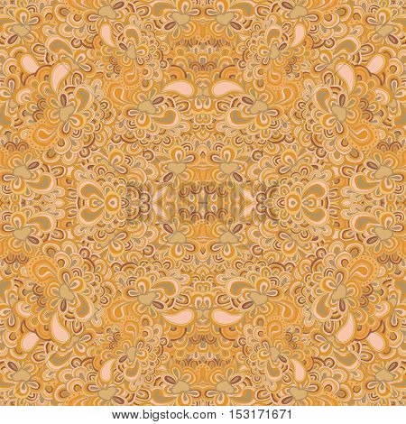 Seamless lined pattern in yellow colors. Repeating floral tracery.