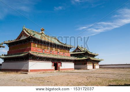 Erdene Zuu Monastery buildings in central Mongolia.